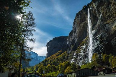 Lauterbrunnen is known as the valley of 72 waterfalls, with Staubbach Falls (nearly 300m high) being its most famous landmark